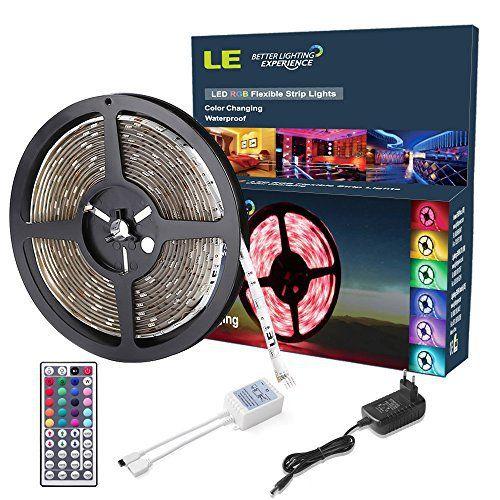 LE 5M 150 LEDs Ruban Lumineux RGB, Bande Lumineuse 5050 SMD Flexible, 20 Couleurs Variées, Imperméable IP65, Télécommande + Transformateur…
