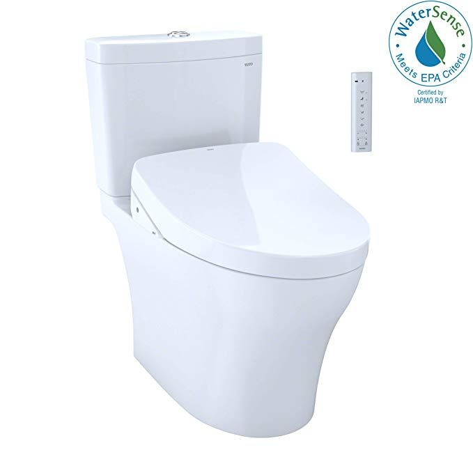 Toto Mw4463056cemg 01 Aquia Iv Two Piece Elongated Dual Flush 1 28 And 0 8 Gpf Toilet And Contemporary Washlet S550e Bidet Seat Washlet Bidet Seat Toto Washlet
