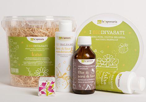 I BIOinvasati Icaro  Un trattamento ricco di natura per chiome stressate ed indebolite!  Il biovaso contiene SHAMPOO DELICATO all'OLIO EXTRAVERGINE DI OLIVA, BIOBALSAMO, OLIO di SEMI DI LINO e SEMINI da piantare per per attirare farfalle e insetti utili a difendere la biodiversità!