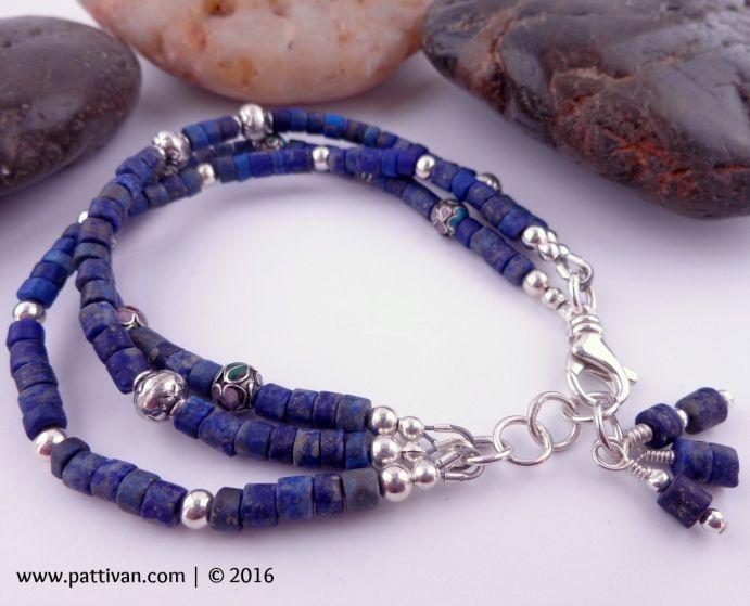 Lapis Lazuli Cloissione and Sterling Silver Adjustable Bracelet
