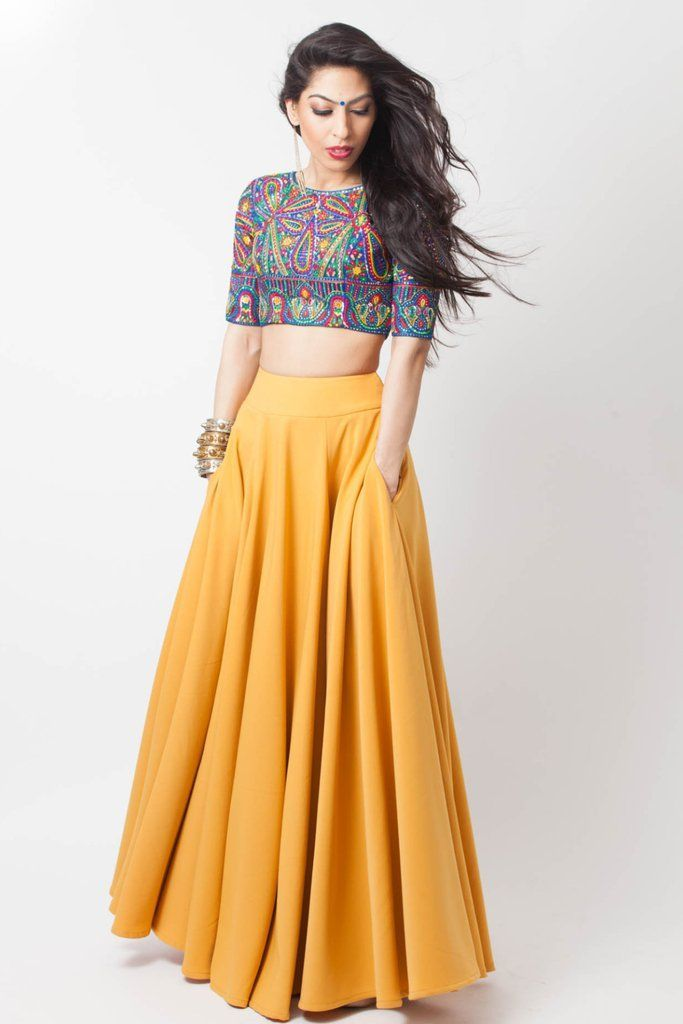 Pocket Lengha  GIANNA – blouse and dress, short sleeve tie neck blouse, women&#3…