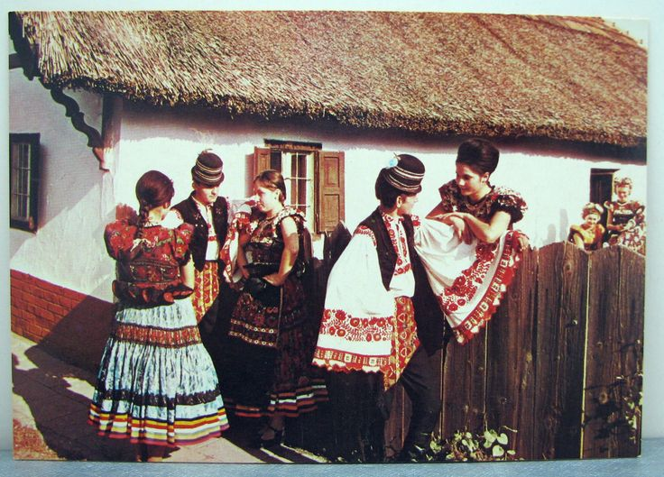 Vtg Hungarian Folk Art Postcard Mezőkővesd Matyó Folk Costumes Unused | eBay