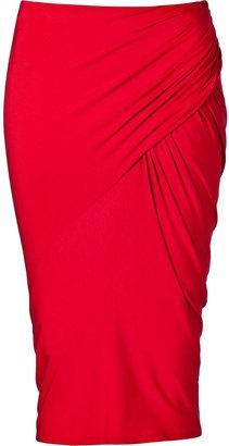 Donna Karan Crimson Red Draped Pencil Skirt