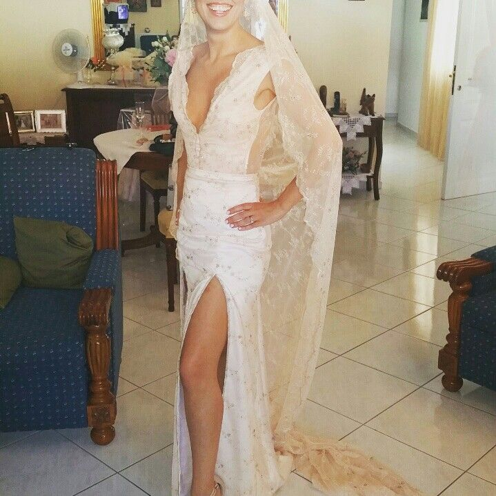 Blush bridal dress.