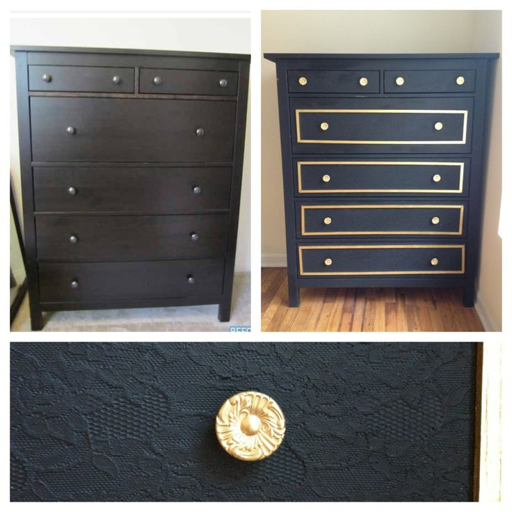 My before and after diy dresser mod podged lace to the