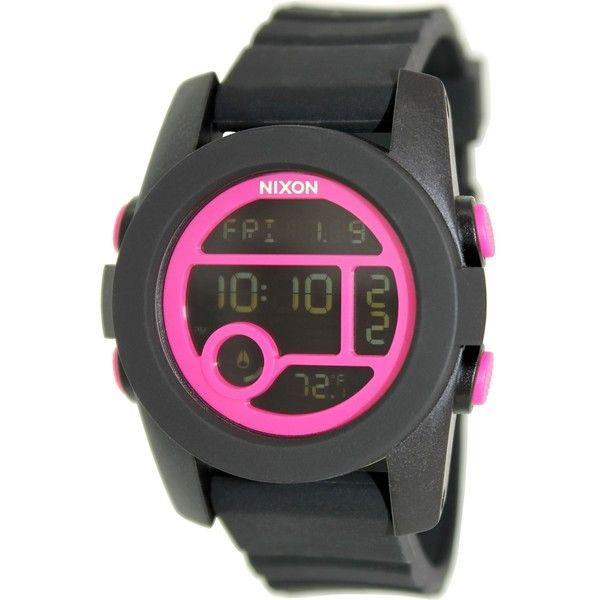 Nixon Women's Unit 40 A4901614 Black Rubber Quartz Watch ($69) ❤ liked on Polyvore featuring jewelry, watches, black, nixon watches, leather-strap watches, alarm chrono watch, rubber strap watches and digital watches