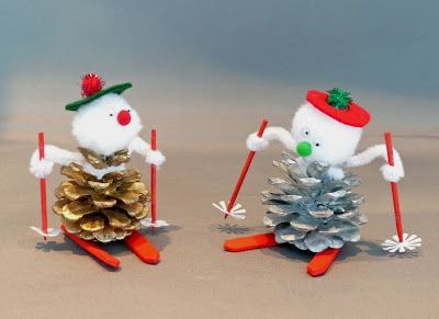 Pine Cone Crafts | facts around us: How to Make a Pinecone Skier | pinecone craft ideas (How To Make Christmas)