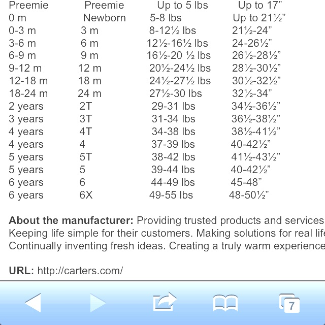 Carter S Size Chart Baby Size Charts Baby Size Chart Baby Size