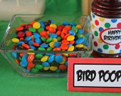 Mad Bird Table Food Cards- haha bird poop m's for an Angry Birds party