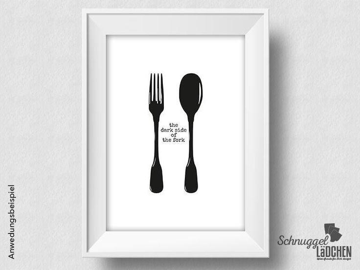 Kunstdruck - the dark side of the fork - von Schnuggellaedchen auf DaWanda.com