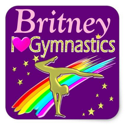 PURPLE LOVE GYMNASTICS PERSONALIZED STICKERS - girl gifts special unique diy gift idea