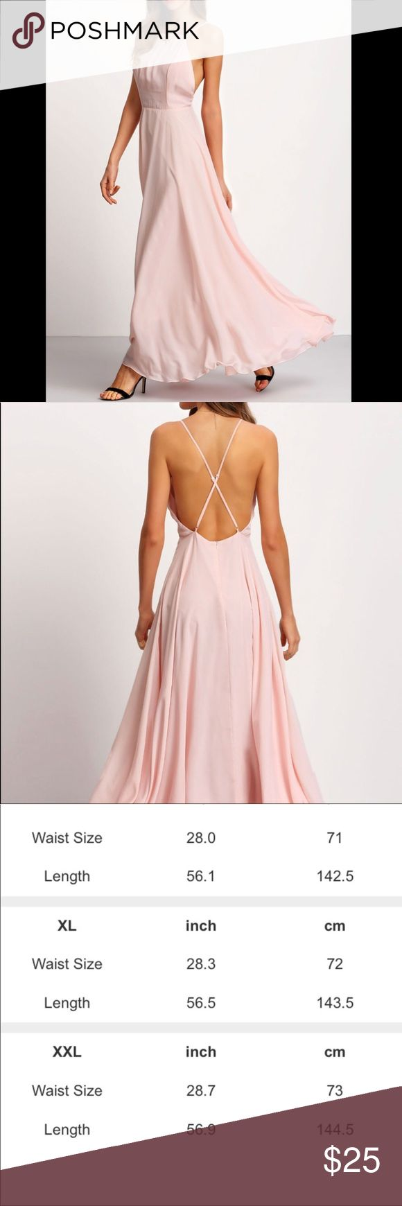 💐NWOT Plus Pale Salmon Maxi Dress This super cute pale salmon (pastel pink) maxi dress is perfect for the spring or summer, it features a bare back design, long flowing skirt, spaghetti straps, this dress is lined, true to size - see size chart for measurements. Dresses Maxi