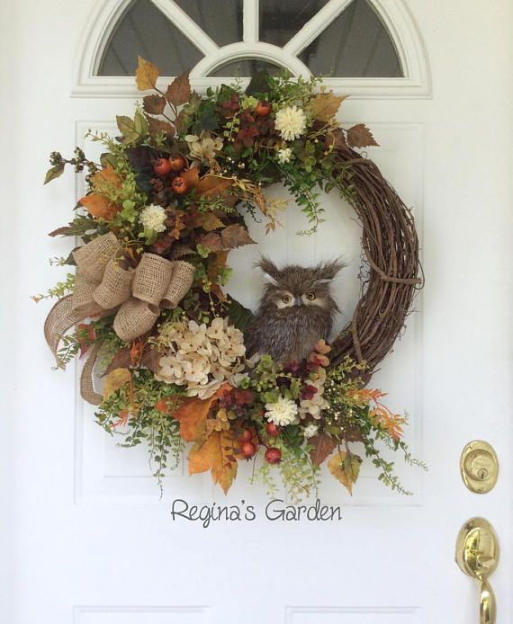 Fall Wreath for Door-Fall Decor-Owl Wreath-Autumn