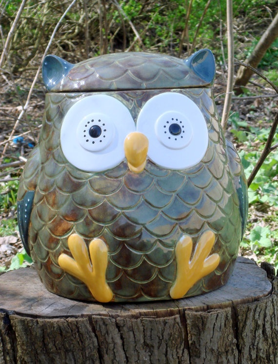 Cookie Jar  Owl by claytopia on Etsy, $65.00