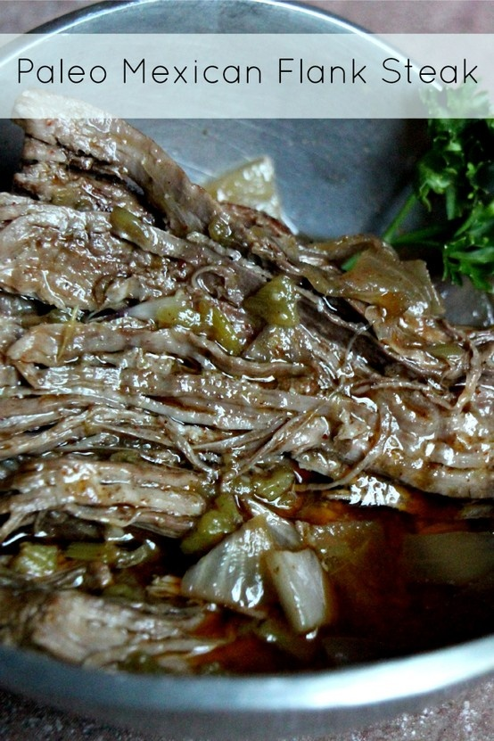 Throw this in the crockpot and leave it be! The result will be a tender flank steak #paleo