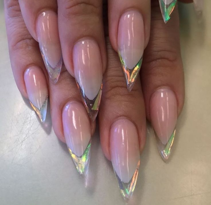 Clear Stiletto Nails W Holographic Tips Stiletto Nails Nails Jelly Nails