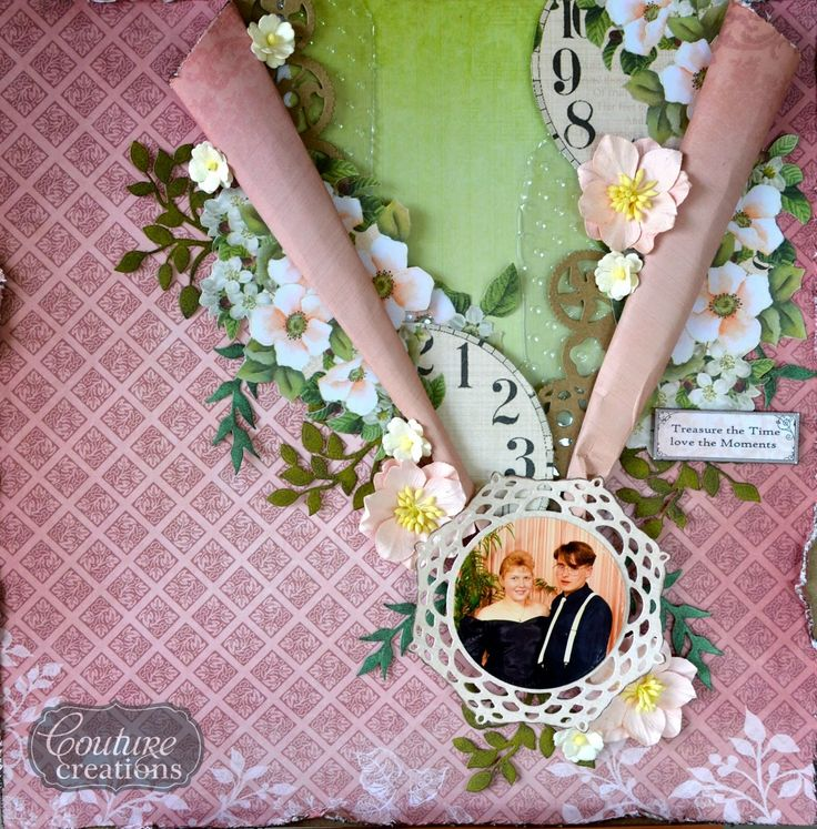 Couture Creations: Treasure the Time by Mel Connell | #couturecreationsaus #scrapbooking #vintagerosedgarden #embossingfolders #decorativedies