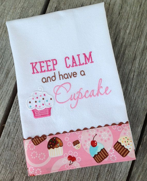 Keep calm and have a cupcake kitchen towel for my for Cupcake themed kitchen ideas