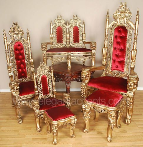 Superior Carved Mahogany King Lion Gothic Throne Chair Gold Red | EBay