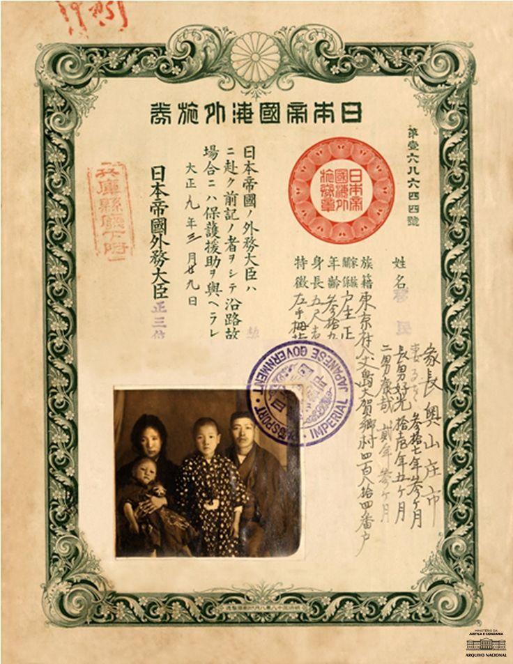 Passaporte de Skoichi Okuyama. 1921. Na foto aparecem ele, a mulher (Ruo Okuyama) e dois filhos (Yoshimitsu e Yasuya) em 1920, quando chegaram em Santos. Residente em São Vicente, estado de São Paulo, onde se estabeleceu como pescador, requereu naturalização em 1923. Arquivo Nacional.