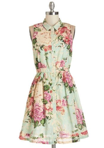 Botanical Occasion Dress - Multi, Floral, Buttons, Daytime Party, A-line, Sleeveless, Summer, Woven, Better, Collared, Mid-length