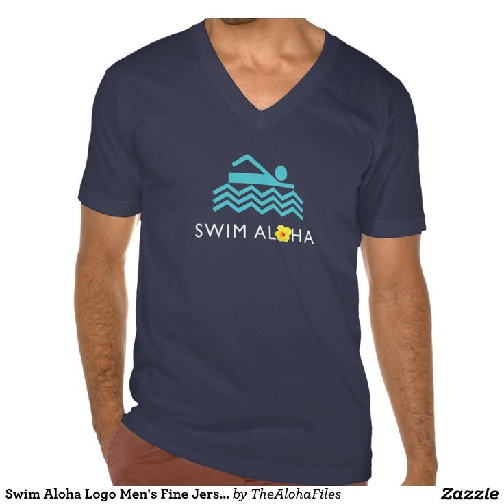 Swim Aloha Logo Men's Fine Jersey V-Neck - Dark T-Shirt
