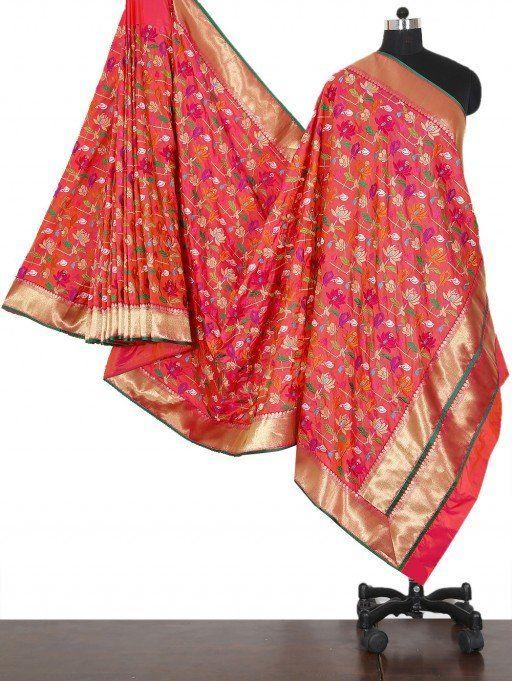 Pink Pure Silk Saree with Resham Work