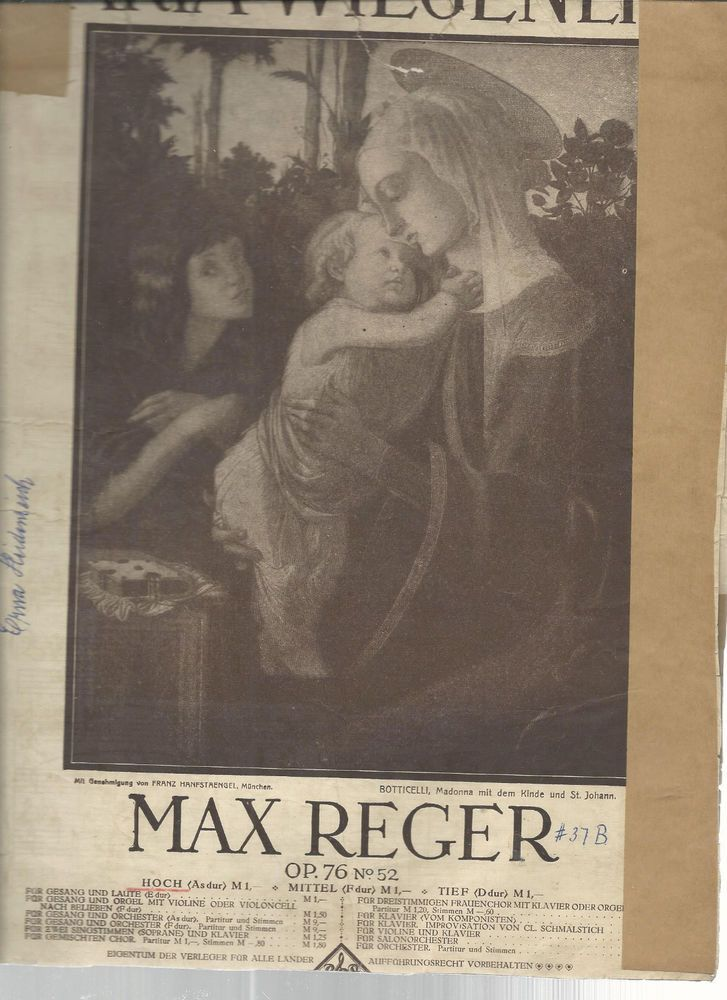 Max Reger Der Hirten Lied Am Krippelein 1912 German Sheet Music