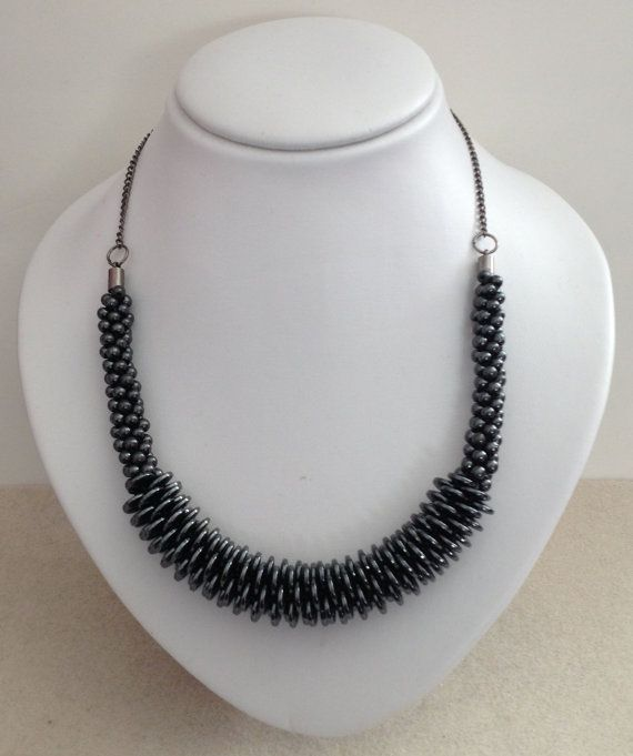 Hematite Kumihimo Braided Necklace by JewelleryByJanine on Etsy, £40.00