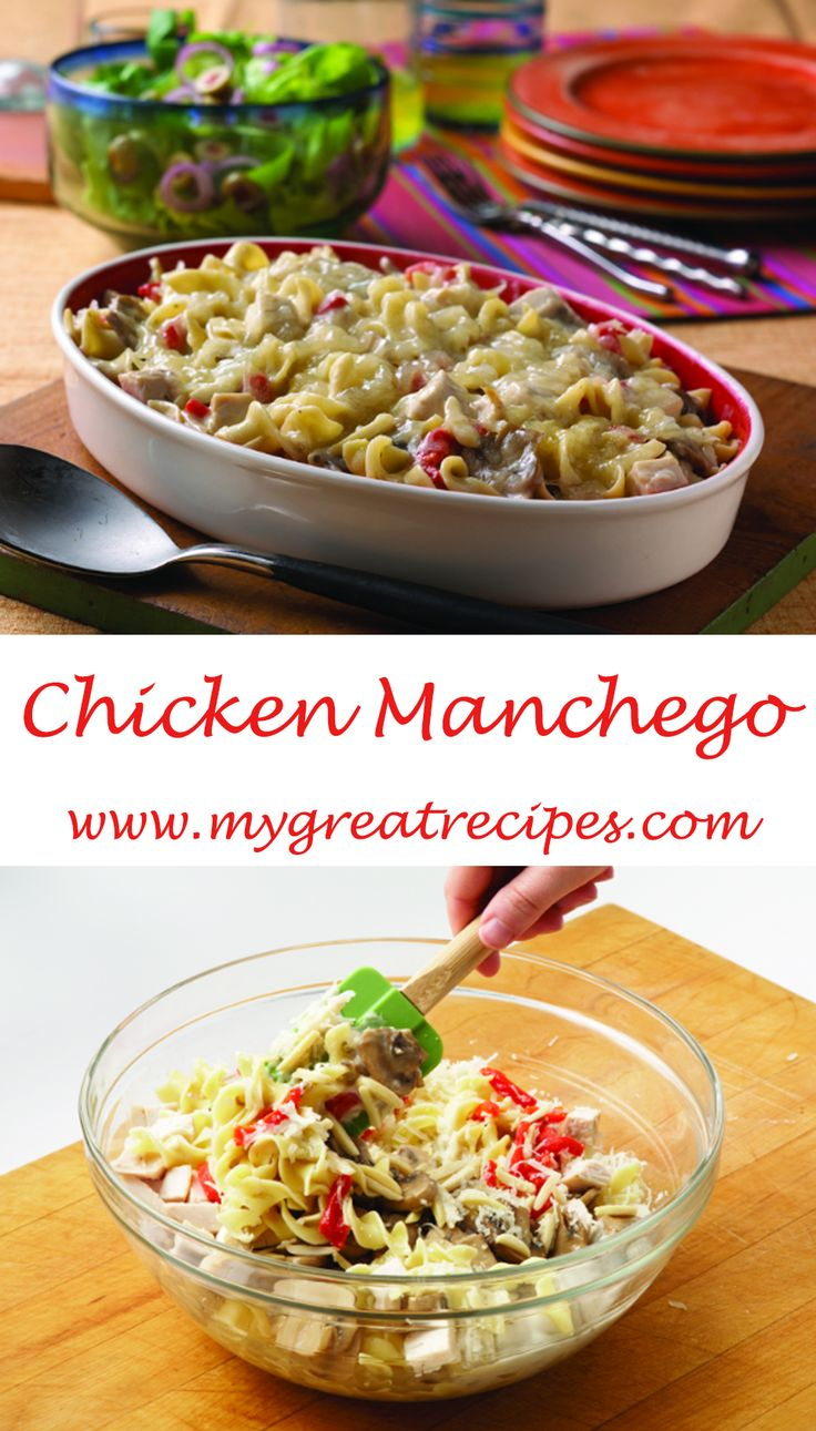 The tart taste of sherry and the brilliant flavor of Manchego #cheese give this #chicken #dish a bit of Spanish flair.