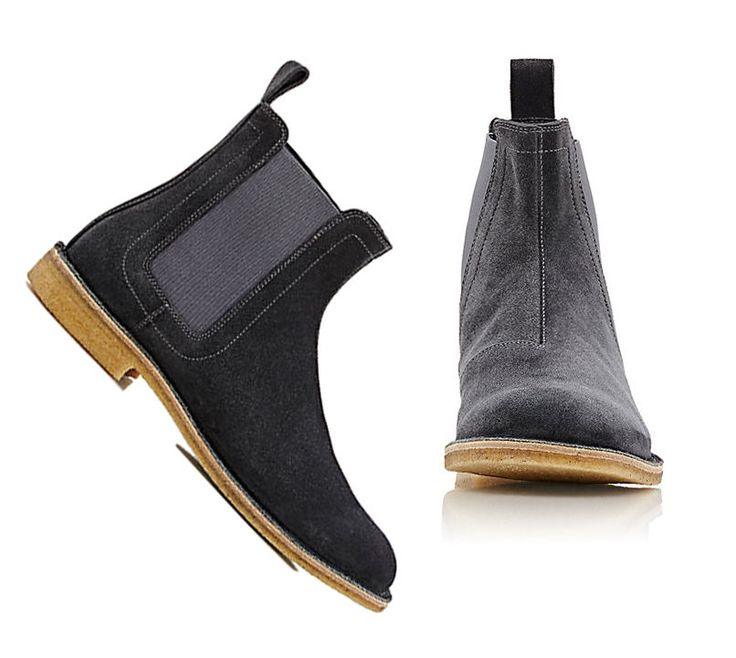 Handmade Chelsea Gray Chelsea Suede Leather Boots For Men's Crepe Sole 2017 #Handmade #AnkleBoots