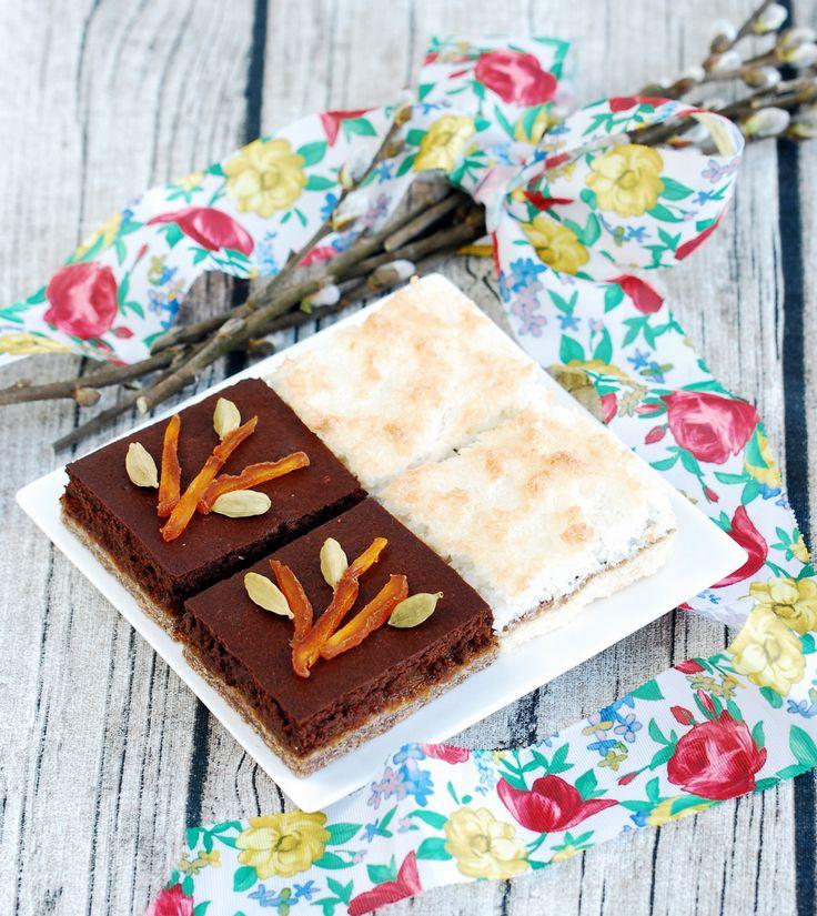 Mazurek z musem czekoladowo-kardamonowym (bez glutenu, cukru, nabiału) / Gluten-free, sugar-free, optionally dairy-free, traditional easter shortcrust cake with chocolate and cardamom mousse.