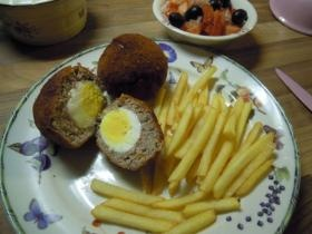 Scottish eggs with fries....