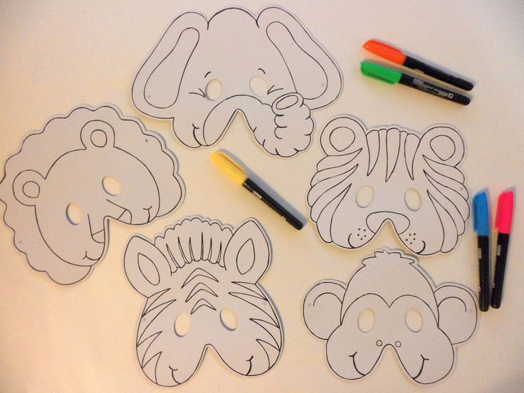 Animal Masks for imaginative play. Pretend the magic hat turns you into different animals