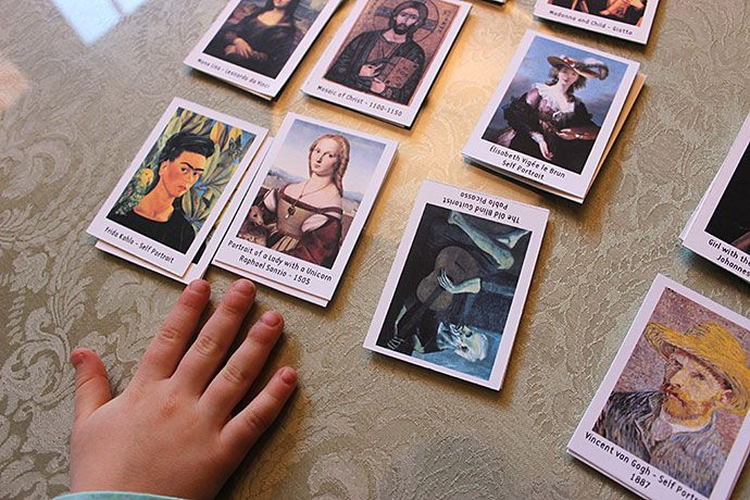 Here is a FREE Art history game printable pack. The game features 15 famous works of art by masters such as Raphael Sanzio, Henri Matisse, Piero