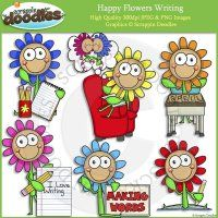 Happy Flowers Writing Clip Art