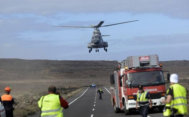 Simulacro de accidente aéreo en Yaiza, #Lanzarote.
