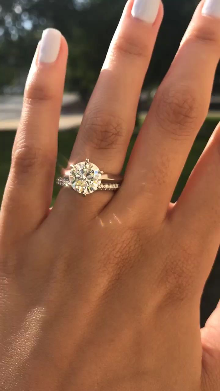 Six Prong Knife Edge Solitaire Engagement Ring Set With A