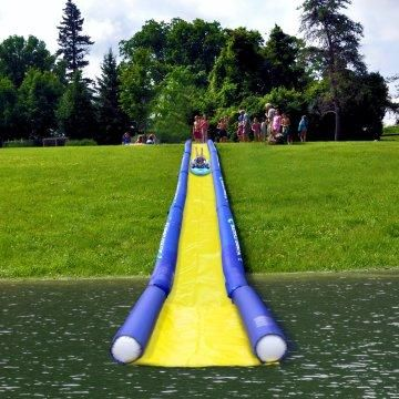 Turn the lake into a water park! Am I too old for this? Because this looks like a great time!