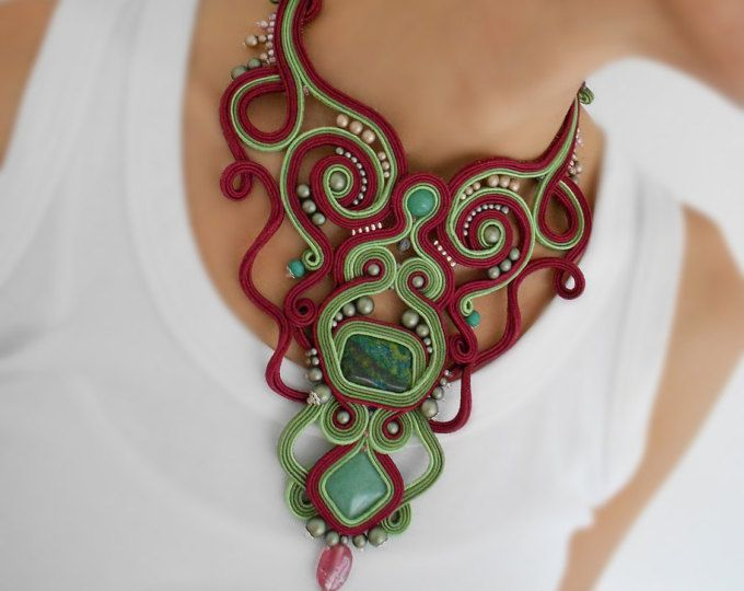 OOAK soutache statement darkred necklace bestselling gift for her victorian crochet gloves chocker necklace fiber art jewelry fairytail set