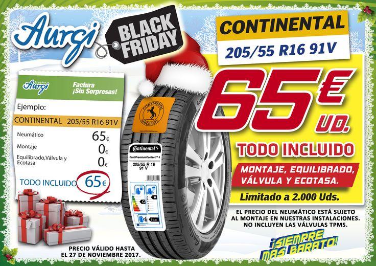 Oferta Aurgi Black Friday. Neumático Continental 205/55 R16 91V al mejor precio. Más información en www.aurgi.com