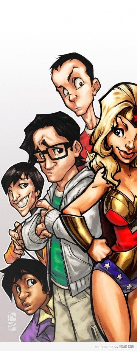 Sheldon, Penny,  Leonard, Howard and Rajesh