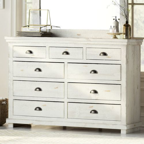 "Features:  -Frame material: Wood.  -Distressed finish.  Frame Material: -Wood.  Product Type: -Standard dresser (horizontal).  Distressed: -Yes. Dimensions:  Overall Height - Top to Bottom: -44"".  Ove"