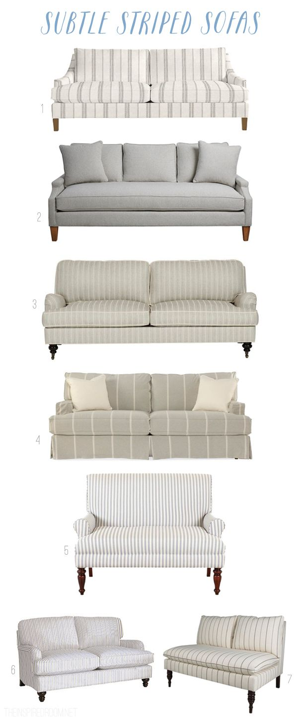Subtle Striped Neutral Sofas and Settees - The Inspired Room blog