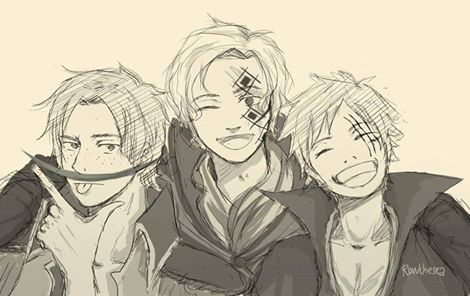 Ace, Sabo and Luffy ~ Ace with Whitebeard's stache, Sabo with Dragon's face tattoo and Luffy with Shanks' claw scar