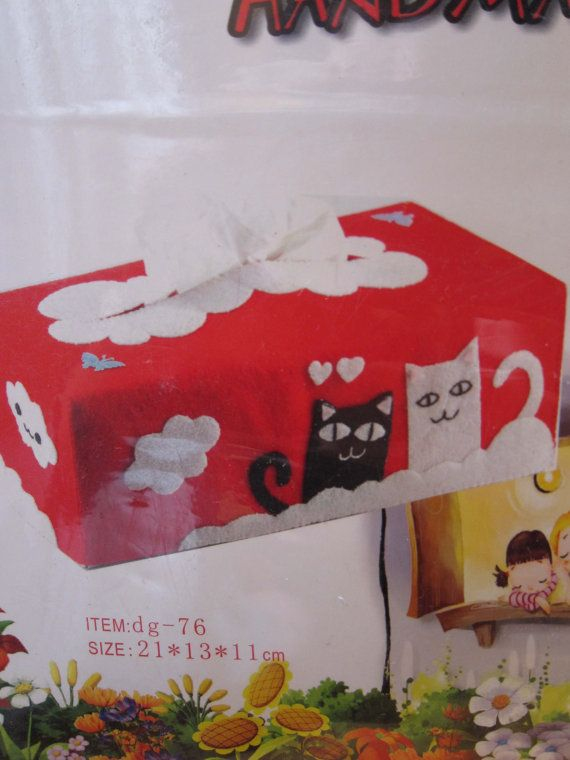 DIY Cat Tissue Box Cover Felt Sewing Kit, Kids Crafts Craft kit Easy Sewing project, ShineKidsCrafts