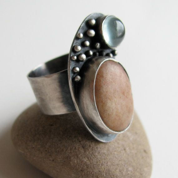 sterling silver ring with pink beach stone and aquamarine @Etsy