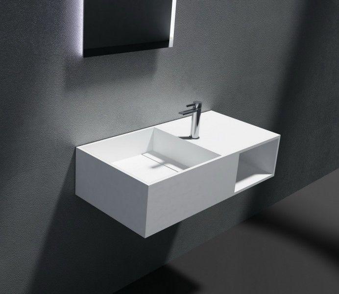 Wandwaschbecken aus Mineralguss PB2037 weiß - Solid Stone - 80 x 40 x 20 cm günstig online kaufen