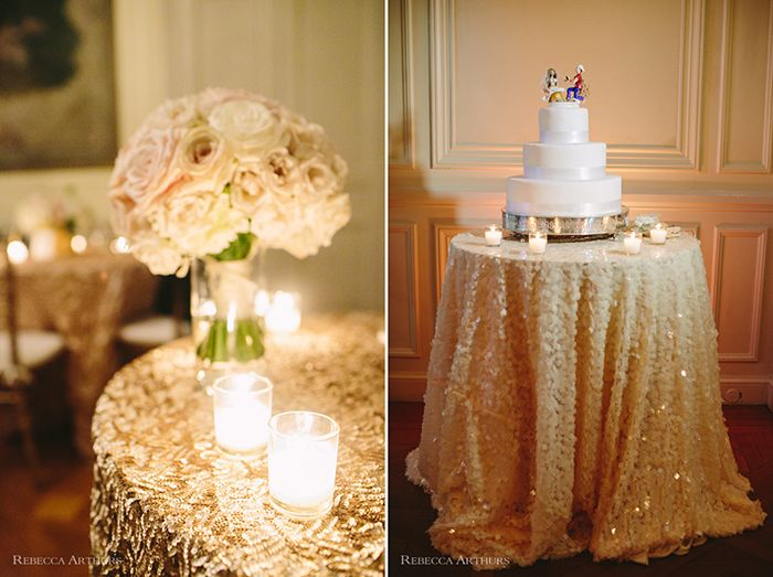 "Glen Manor House Wedding Linen by ModMIX Studio in ""blush"" chip sequin and ""champaigne"" sequin"