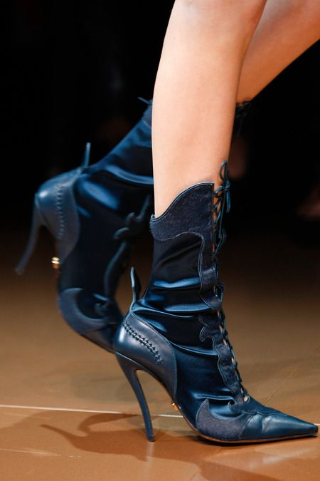 Versace Midnight Blue Leather Booties Fall 2014 RTW #Boots #Shoes #Heels
